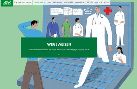 Die Online-Version des Unternehmensberichts der AOK Baden-Württemberg ist unter aok.de verfügbar; Foto: Screenshot der Wegeweisen-Website