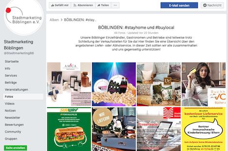 """In dem Fotoalbum """"BÖBLINGEN: #stayhome und #buylocal"""" auf Facebook sind aktuell 44 Einzelhändler präsent; Foto: Screenshot des Facebook-Fotoalbums"""