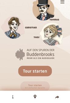"""Die Inhalte des Audioguides """"Auf den Spuren der Buddenbrooks"""" wurden im Rahmen des Projekts """"Literatur als Ereignis"""" entwickelt und die Texte mit Schauspielern des Theaters Lübeck vertont; Foto: Screenshot"""