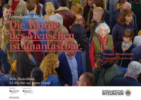 Die Kampagne beinhaltet sechs Hauptmotive - unter anderem mit der Holocaust-Überlebenden Margot Friedländer; Foto: Deutschlandstiftung Integration