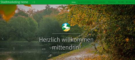 """Die Stadt Herne hat im April 2017 ihre neu gestaltete Stadtmarke und den neuen Slogan """"Mit Grün. Mit Wasser. Mittendrin."""" vorgestellt; Foto: Screenshot der Website"""