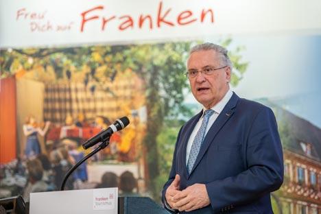 Bayerns Innenminister Joachim Herrmann, MdL, ist Vorsitzende des Tourismusverbandes Franken. Er zog am 10.02. Bilanz und gab einen Ausblick auf das Tourismusjahr 2020 ; Foto: Franken Tourismus