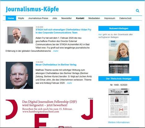 Das neue Online-Angebot des New Business Verlags berichtet über personelle Veränderungen in Redaktionen unter anderem von Zeitungen und Magazinen sowie Digital-Medien; Foto: Screenhot journalismus-koepfe.de