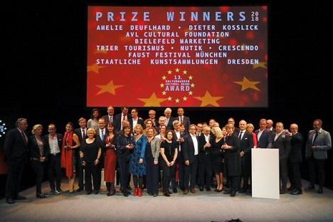 Die Gewinner, Laudatoren und Juroren kamen am 12. November zur Kulturmarken-Gala nach Berlin; Foto: Causales