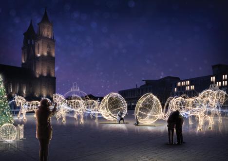 """Die """"Lichterwelt Magdeburg"""" ist unter anderem auf dem Domplatz zu sehen; Foto: Multidekor/Weihnachtsmarkt GmbH"""