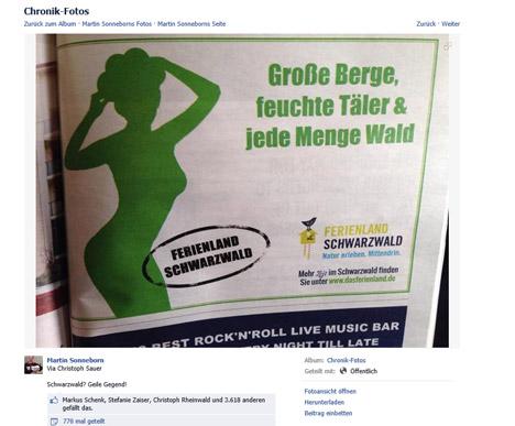 Schwarzwald-Werbung l�st Beschwerde beim Werberat aus Bild