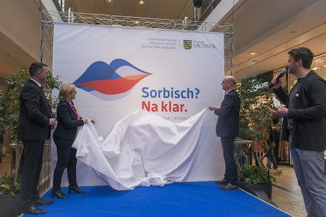 """Vorgestellt wurde die Imagekampagne """"Sorbisch? Na klar."""" im Haus der Sorben. Der Startschuss fiel im Kornmarkt-Center; Foto: Matthias Bulang"""