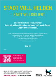 """Plakat der neuen Kampagne """"Stadt voll Helden – statt vollisoliert""""; Foto: WMG Wolfsburg"""