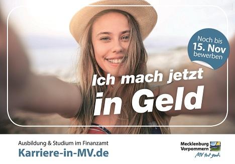 Mit diesem Motiv warb die Landesregierung Mecklenburg-Vorpommern im vergangenen Jahr für Ausbildungen bei der Steuerverwaltung; Foto: Landesregierung Mecklenburg-Vorpommern