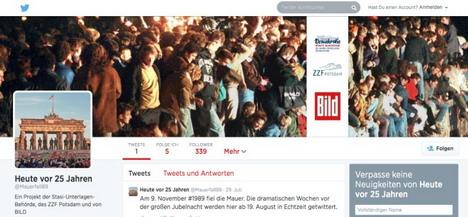 """""""Bild"""", BStu und ZZF Potsdam starten Twitter-Projekt zum 25-j�hrigen Jubil�um des Mauerfalls Bild"""