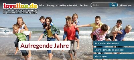 Unter anderem will die BZgA das Online-Informationsangebot loveline.de neu gestalten; Foto: Screenshot loveline.de