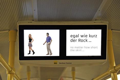 """Der neue Clip zu """"Nein heißt Nein!"""" läuft ab sofort im """"Berliner Fenster"""" der U-Bahnen; Foto: BVG"""